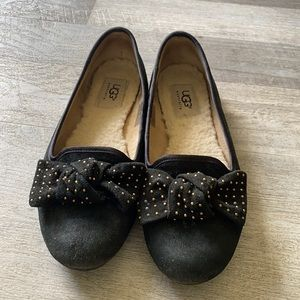Ugg Australia black suede flats with bow
